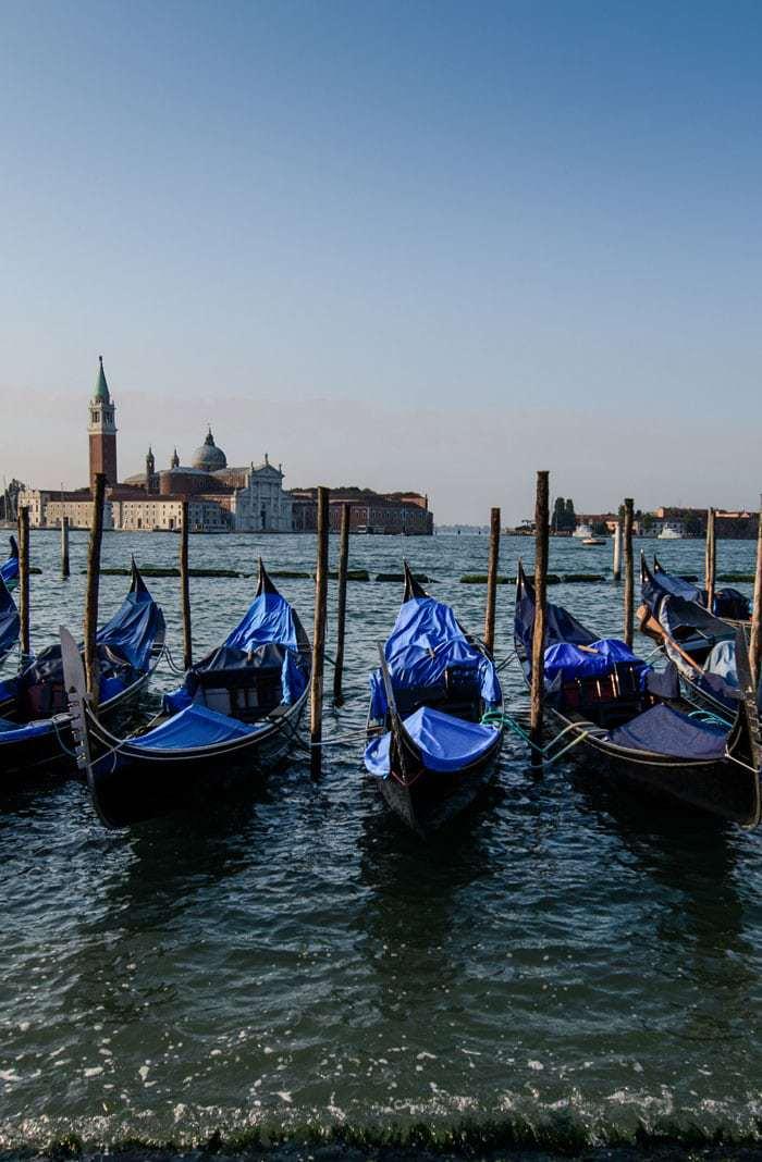 Gondolas at rest in Venice- 5 Days in Venice