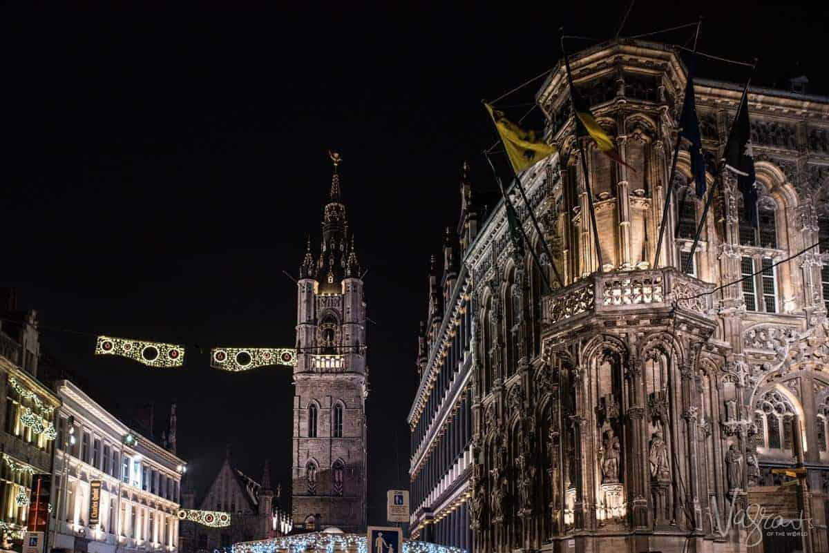Ghent City Hall And Ghent Belfry at night
