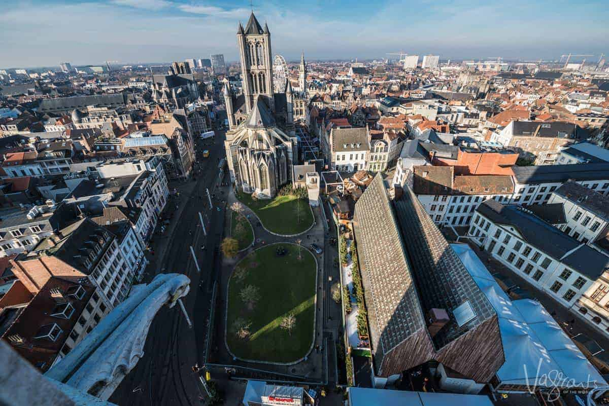 Gent City Skyline. View from the Belfry