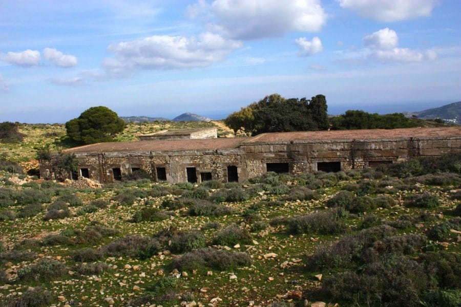 Abandoned army barracks Leros Island Greece